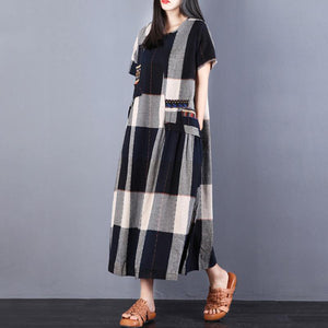 brief  natural cotton dress plus size clothing Cotton Summer Women Short Sleeve Plaid Dress