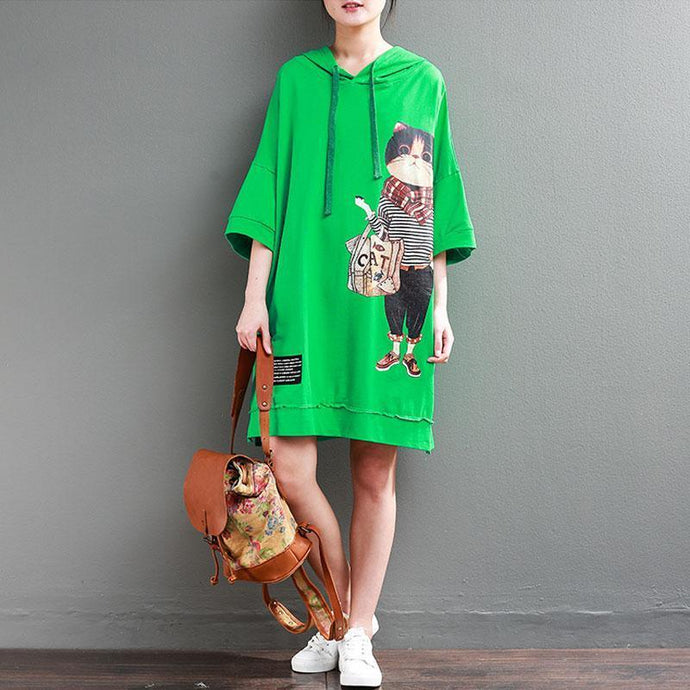 brief   natural cotton dress plus size clothing Hoodie Loose 12 Sleeve Printed Green Short Dress