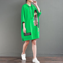 Load image into Gallery viewer, brief   natural cotton dress plus size clothing Hoodie Loose 12 Sleeve Printed Green Short Dress