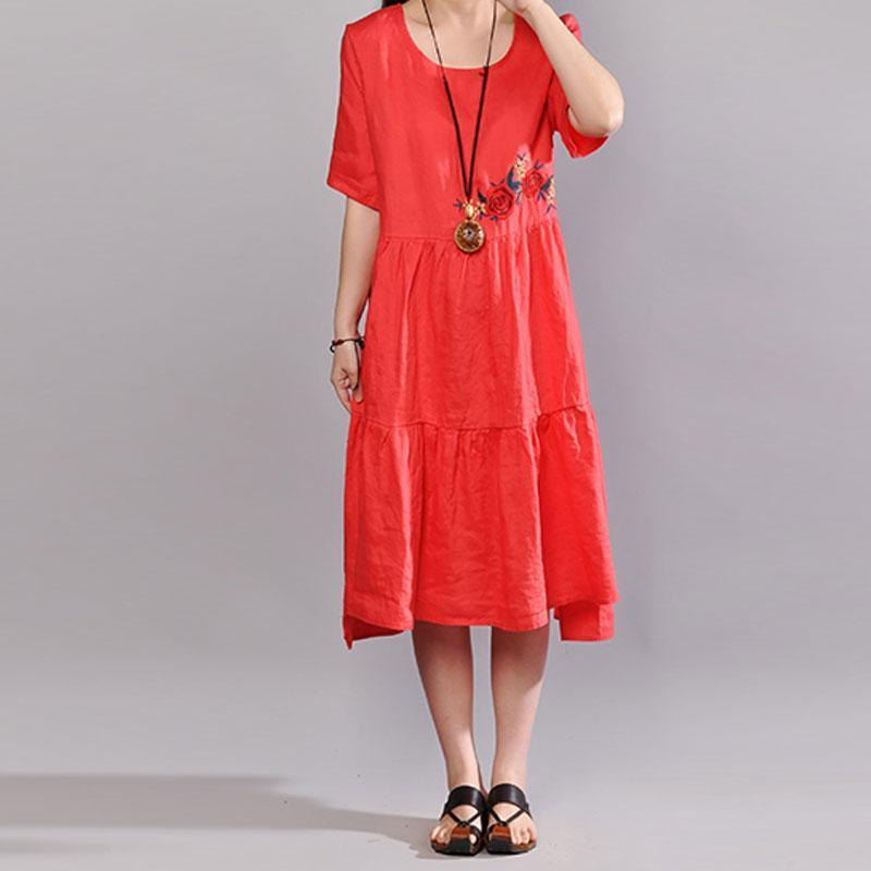 brief natural linen dress  plus size clothing Embroidered Round Neck Short Sleeve Flax Red Dress