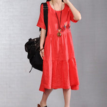 Load image into Gallery viewer, brief natural linen dress  plus size clothing Embroidered Round Neck Short Sleeve Flax Red Dress