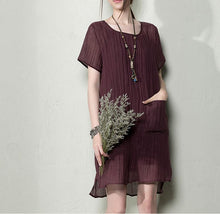 Load image into Gallery viewer, brown breathy summer linen dresses oversize maternity dress linen clothing
