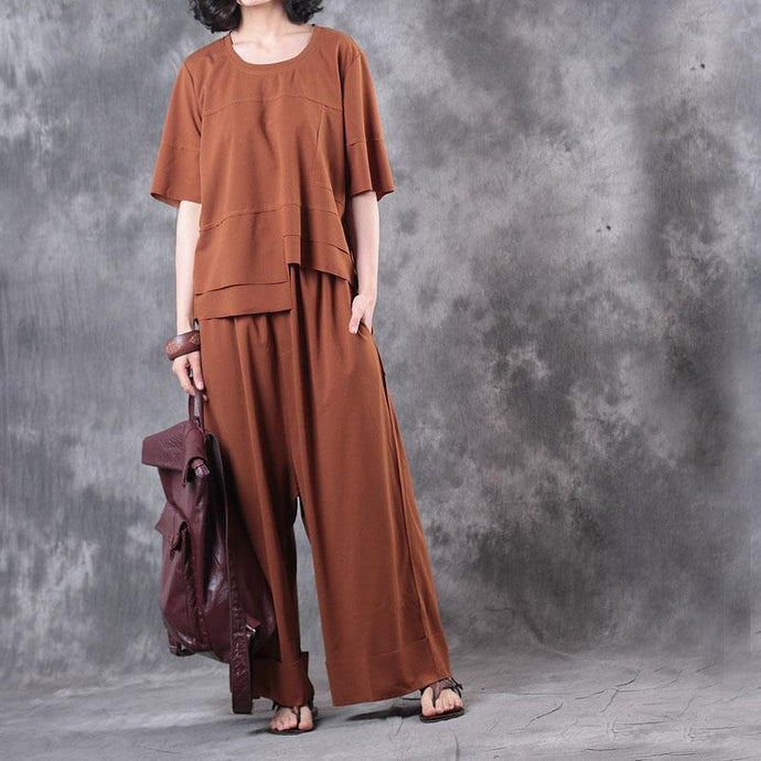 brown casual two pieces asymmetric cotton tops casual wide leg pants