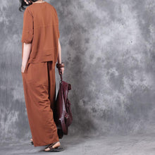 Load image into Gallery viewer, brown casual two pieces asymmetric cotton tops casual wide leg pants