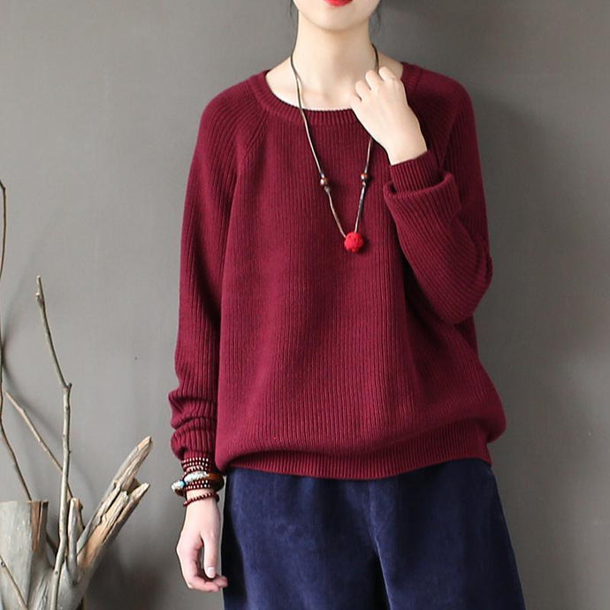 burgundy casual solid cotton tops oversize stylish o neck sweater