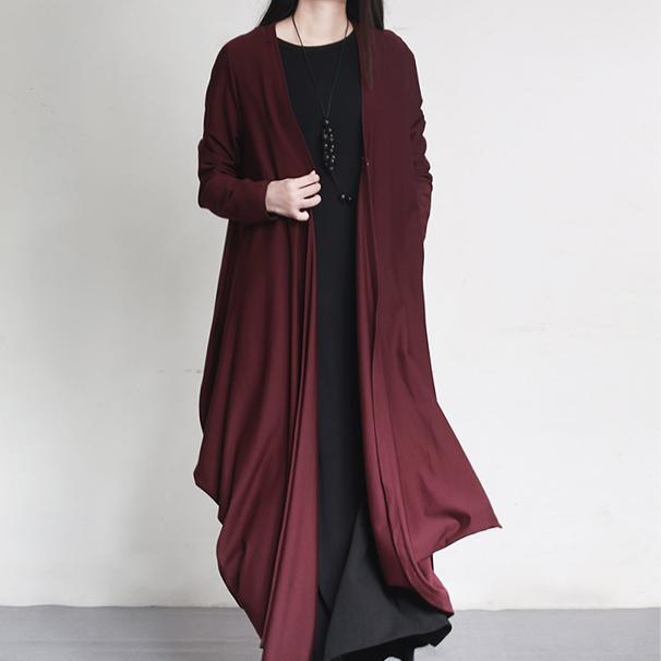 burgundy original cotton cardigans oversize elegant asymmetric draping coats