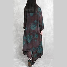 Load image into Gallery viewer, burgundy prints silk polyester two pieces mid long tops and casual wide leg pants