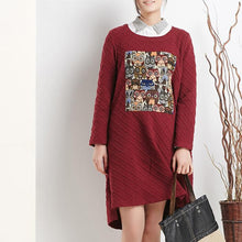 Load image into Gallery viewer, burgundy spring cotton dresses oversize shift dress