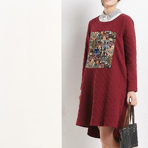 burgundy spring cotton dresses oversize shift dress