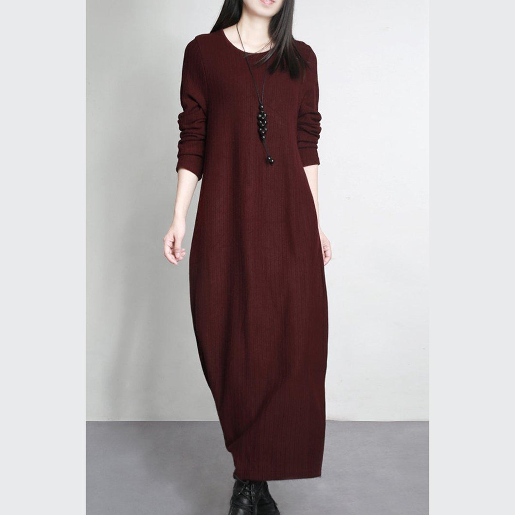 burgundy stylish  slim  sweater dresses elegant loose o neck maxi knit dress warm fall outfits