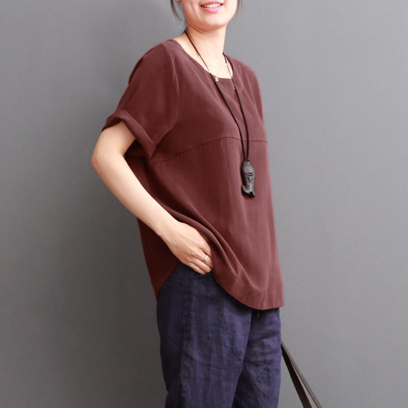burgundy women blouse cotton top casual shirt plus size