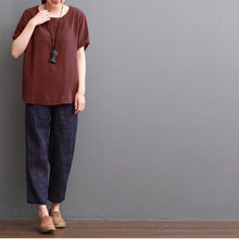 Load image into Gallery viewer, burgundy women blouse cotton top casual shirt plus size