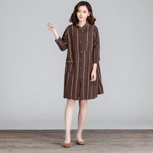 Load image into Gallery viewer, Cotton Women Splicing Casual Linen Loose Stripe Pocket Dress