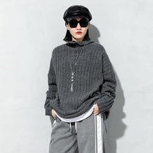 Load image into Gallery viewer, Spring New Knitting Pullover Sweater Fashion Splicing Turtleneck Collar Solid Color Casual Women Loose All-match