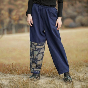 Omychic Vintage Warm Thick Straight Elastic Waist 2020 Winter Blue Pants