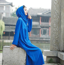 Load image into Gallery viewer, Vintage Witch Cotton Linen Autumn Winter Robe Long Cardigan Coats