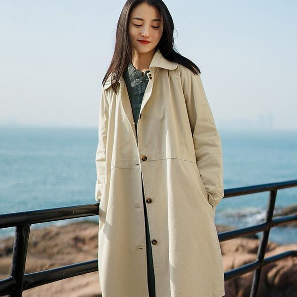 Women Casual Trench Button Coats Solid Color 2020 Spring New Coats