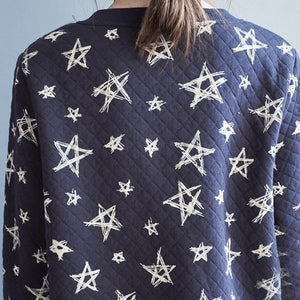 2020 New Cotton Knit Soft Comfortably Star Print O-Neck Single Breasted Sweater