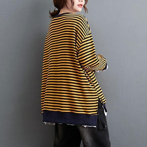 100% Cotton  New Arrival 2020 Autumn Winter Korean Simple Style Striped Loose Female Pullovers Tops