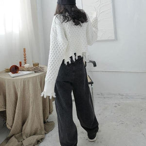 Spring New Sweater Knitting Splicing Broken Edge Tassel Women Casual Fashion Turtleneck Collar Solid Color