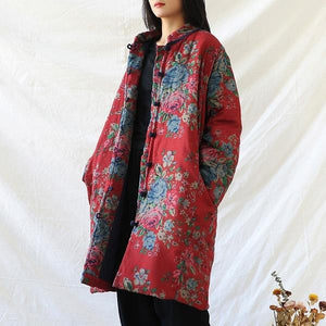 Women Red Print Floral Vintage Parkas Linen Pockets 2020 Winter New Chinese Style Parkas