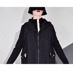 Winter Embroidery Trendy Fashion New Hooded Collar Long Sleeve Elegant Loose Pocket