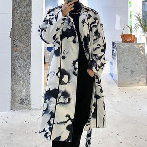New Women Casual Turn-down Collar Loose Long Sleeve Street Trendy Coat