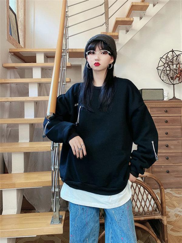 Drawstring Letter Pullover Sweatshirt Women Casual Fashion Style Temperament All Match Women Clothes