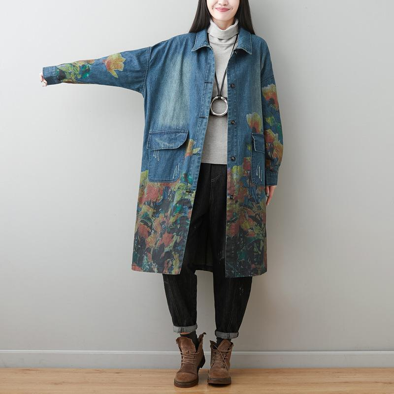 Turn-down Collar Floral Print Denim Coat 2020 New Long Sleeve Pockets Women Windbreaker
