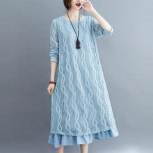 Load image into Gallery viewer, Plus Size Women Lace Long Dress New 2020 Autumn Vintage Solid Color Loose  Dresses