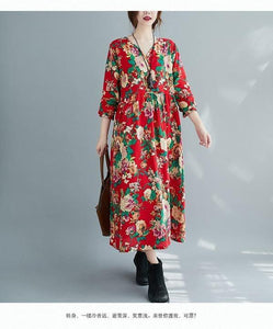 long sleeve plus size cotton linen vintage floral for women casual loose autumn dress