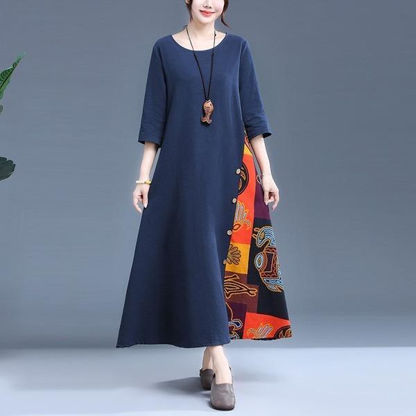 Plus Size Women Cotton LinenPrint Loose Female A-line Dresses