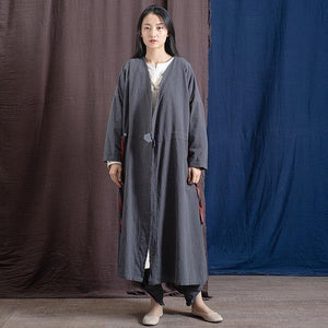 Vintage Trench Cotton Linen Coat Women 2020 Spring New Long Sleeve V-Neck Coat