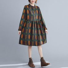 Load image into Gallery viewer, Arrival 2020 Autumn Vintage Print Stand Collar Loose Ladies Knee-length A-line Dresses