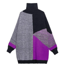 Load image into Gallery viewer, Turtleneck Pullover Winter New Splicing Contrast Color Pattern Loose Fashion