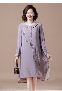 Plus Size Women Casual Dresses Vintage Embroidery Loose Ladies Knee-length Dress