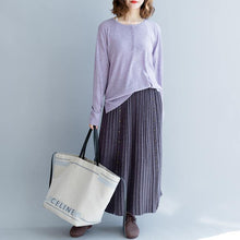 Load image into Gallery viewer, casual women purple knit skirt plus size elastic wiast side open maxi skirts