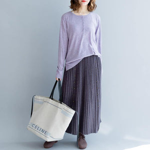 casual women purple knit skirt plus size elastic wiast side open maxi skirts