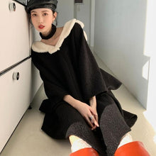 Load image into Gallery viewer, Patchwork Solid Dress Women 2020 Winter Casual Fashion New Style Temperament All Match Flare Sleeve Women Clothes