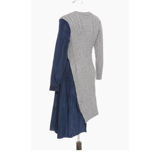 Full Sleeve 2020 Winter Knitted O Neck Minority Drawstring Dress