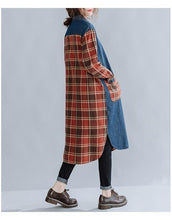 Load image into Gallery viewer, long sleeve plus size cotton denim vintage plaid women casual loose midi autumn shirt dress