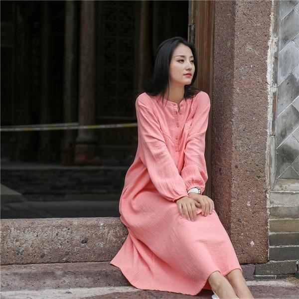 Ladies Solid Color Vintage Dresses Female Plus Size Dress 2020