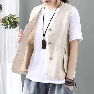 Korean Style Vintage V-neck Single Breasted Loose Casual Female Cotton Linen Vest Coats