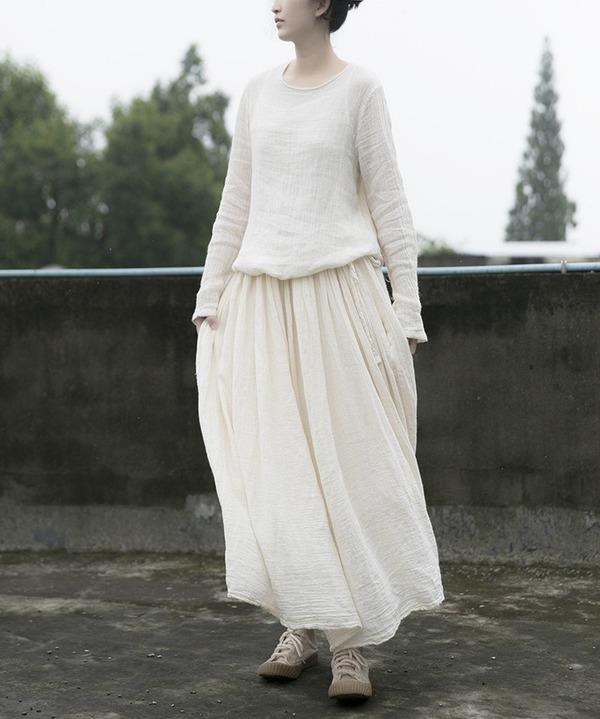 Vintage Solid Color Simple Dress Ladies Cotton Ramie Dresses Female 2020 Autumn Loose Dress