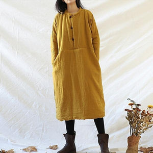 Women Vintage Linen Parkas Female Button Thick Pullover Parkas