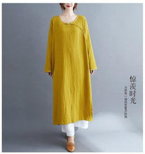 Load image into Gallery viewer, omychic plus size cotton linen vintage for women casual Split loose spring autumn dress