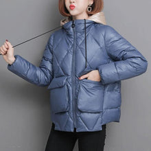 Load image into Gallery viewer, Short Parkas Women Patchwork Hooded Simple Solid Pockets Simple Womens coats