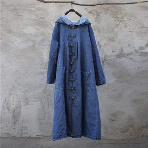 2020 Spring Women Solid Color Denim Trench CoatsLoose Hooded Collar Patchwork Long Coats