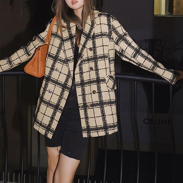 England Plaid Blazer Casual Women Winter The  Fashion Vintage Loose Notched Contrast Color Street Trendy