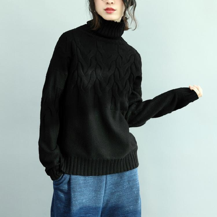 chunky black  knit tops casual high neck  sweaters 2018 cable fall blouse